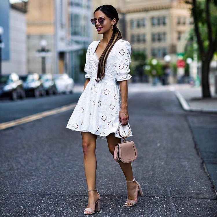 How To Wear White Crochet Dress With Blush Sandals And Saddle Handbag 2019