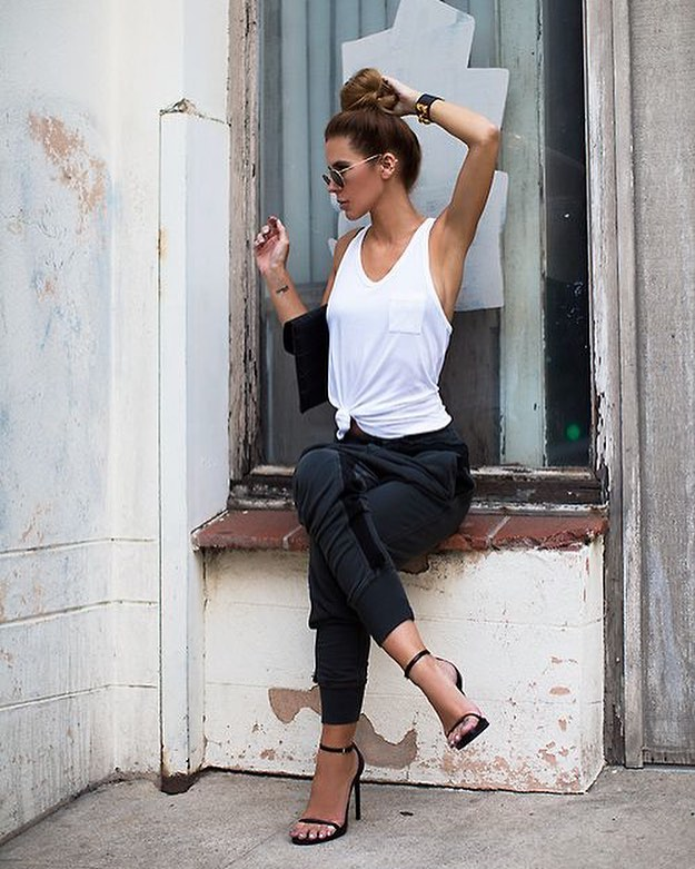 Summer Casual Style: White Tank Top And Charcoal Joggers With Heeled Sandals 2020