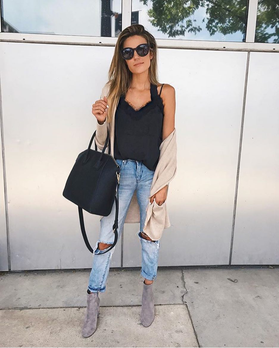 Casual Basics: Black Slip Tank With Cream Beige Cardigan And Knee Ripped Jeans 2019