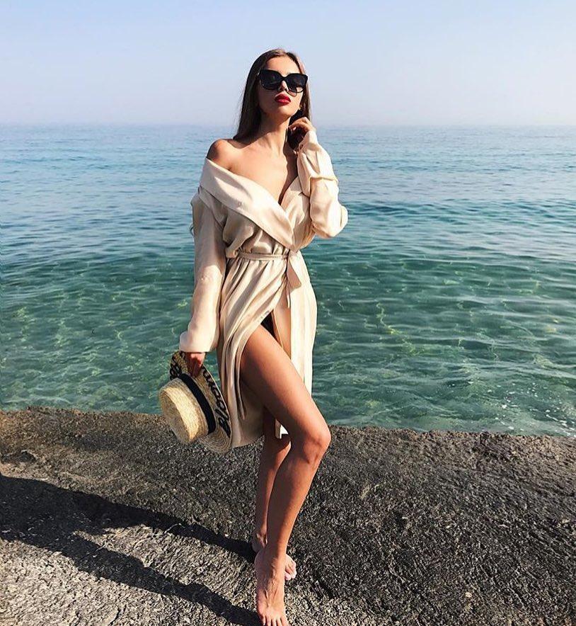 Silk Robe Dress In Beige For Beach Days 2019