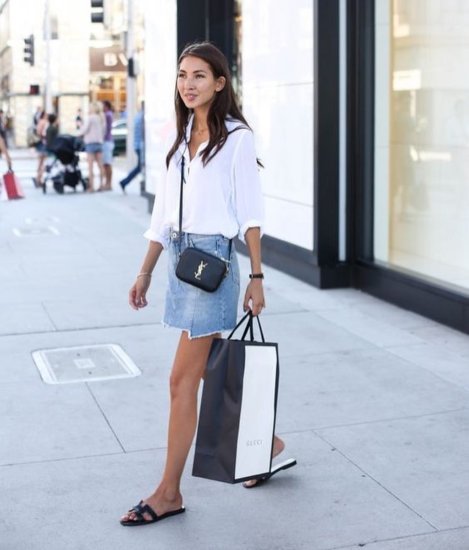 How To Team White Shirt With Light Blue Denim Skirt And Black Flat Sandals 2019