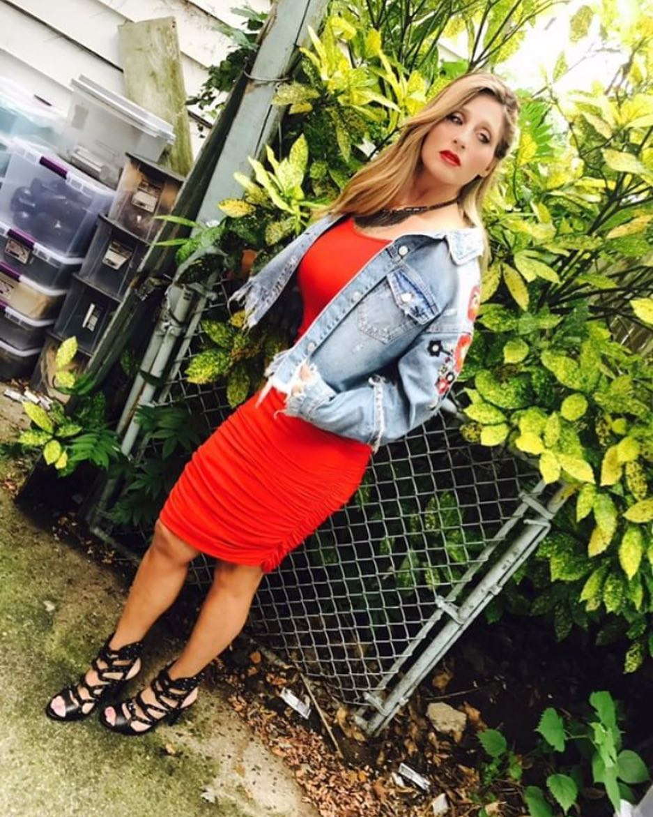 How To Wear Red Pencil Dress With Blue Denim Jacket 2020