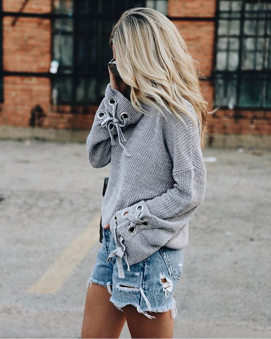 Bell Sleeve Grey Sweater And Ripped Denim Shorts 2021