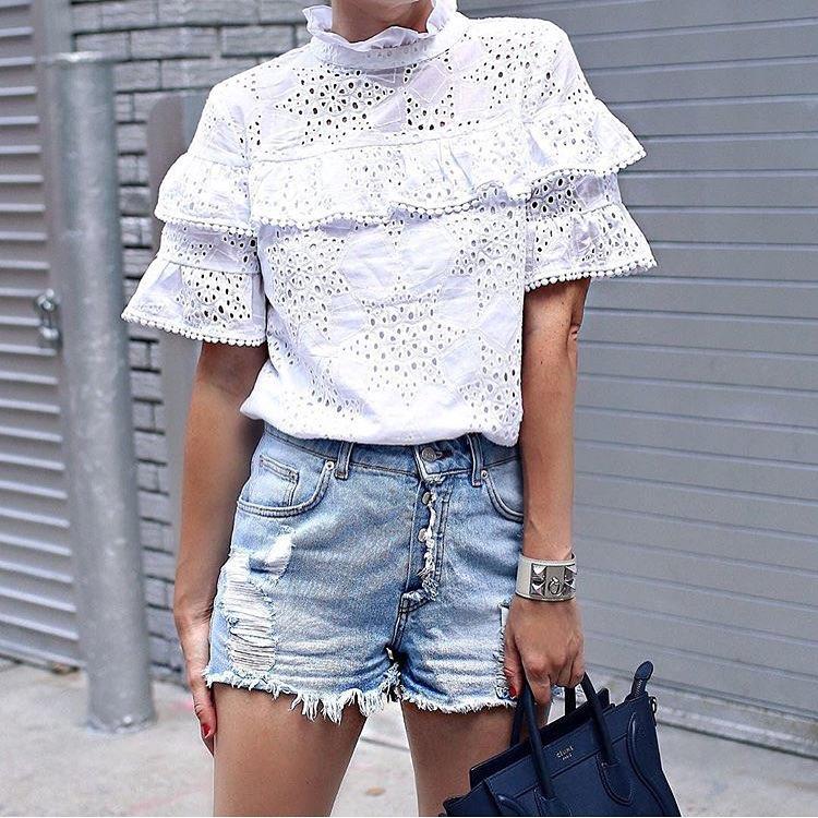 Summer Basics: Ruffled Perforated White Blouse And Ripped Denim Shorts 2020