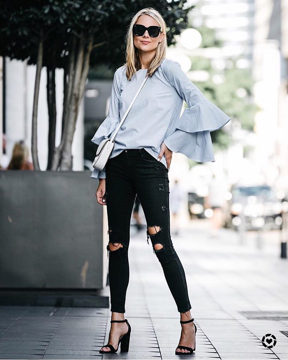 OOTD: Pale Blue Blouse With Bell Sleeves And Ripped Black Skinny Jeans 2019