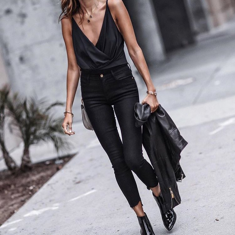 All In Black: Black Wrap Slip Tank With Cropped Skinny Jeans And Black Ankle Boots 2020