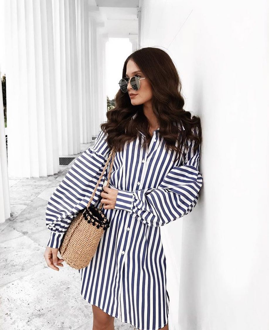 Summer Vacation Trip Look: Billow Sleeve Striped Shirtdress And Rounded Sunglasses 2021