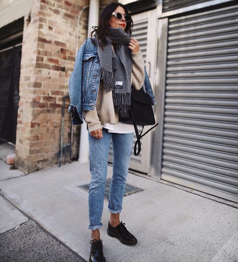 Autumn Layering: Denim Jacket Over Wool Sweater Teamed With Jeans 2021