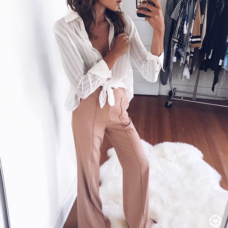 Semi-Sheer White Blouse And Cream-Blush Wide Pants 2019