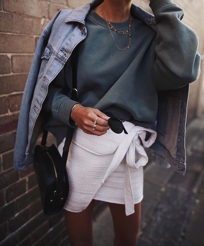 Spring Essentials: Denim Jacket With Oversized Pullover And White Wrap Skirt 2019