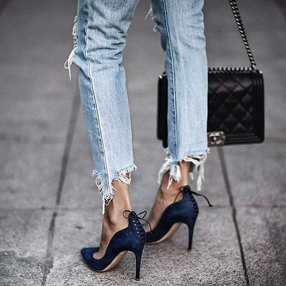 Best Combo: Frayed And Ripped Jeans With Navy Blue Heeled Pumps With Lace-up Back 2019