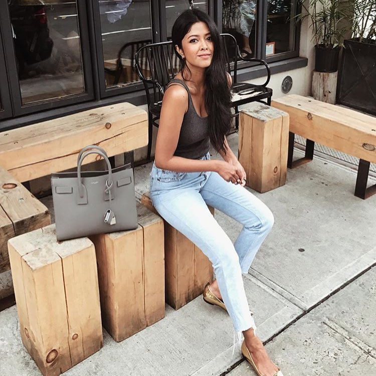 Summer Casual Basics: Gold Ballet Pumps, Wash Blue Skinny Jeans And Tank Top 2021