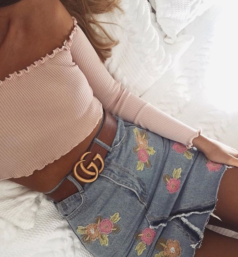 Floral Embroidered Denim Skirt And Blush Knitted Off Shoulder Crop Top 2019