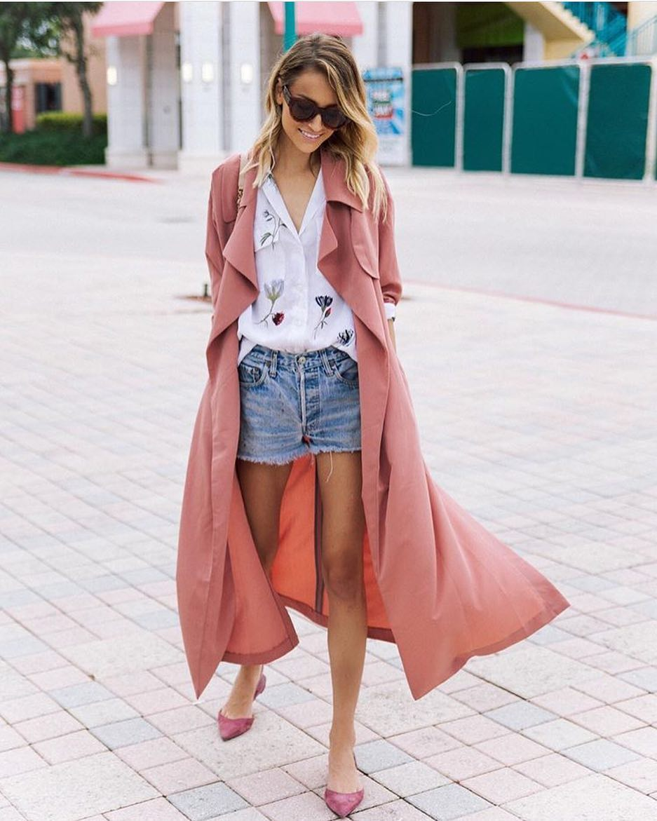 Light Pink Trench Coat Layered Over White Floral Shirt Tucked in Denim Shorts 2020