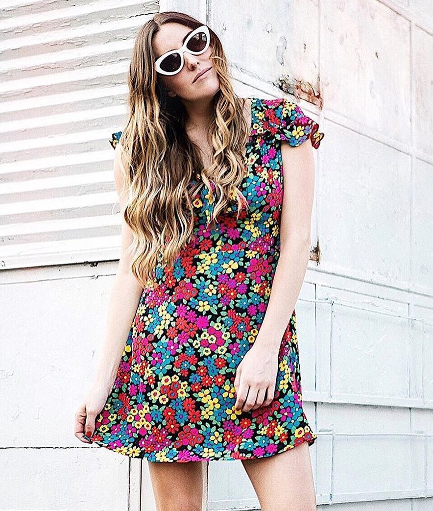 Vintage Multi Floral Print Dress And White Cat-Eye Sunglasses 2020