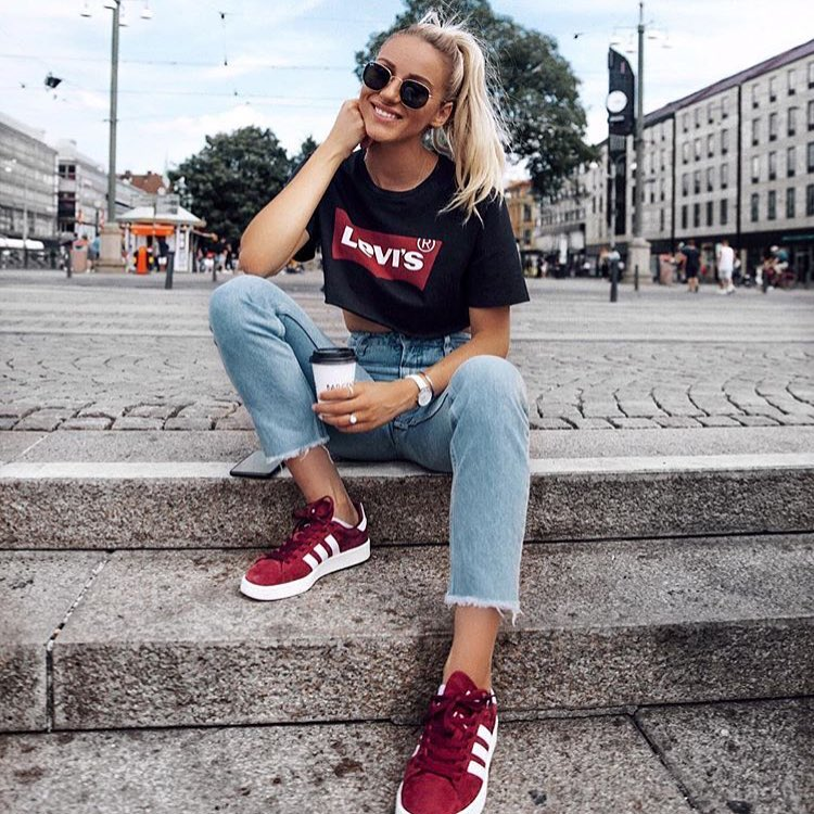 Summer Basics: Crop T-Shirt, Blue Jeans, Maroon Sneakers And Cool Sunglasses 2020