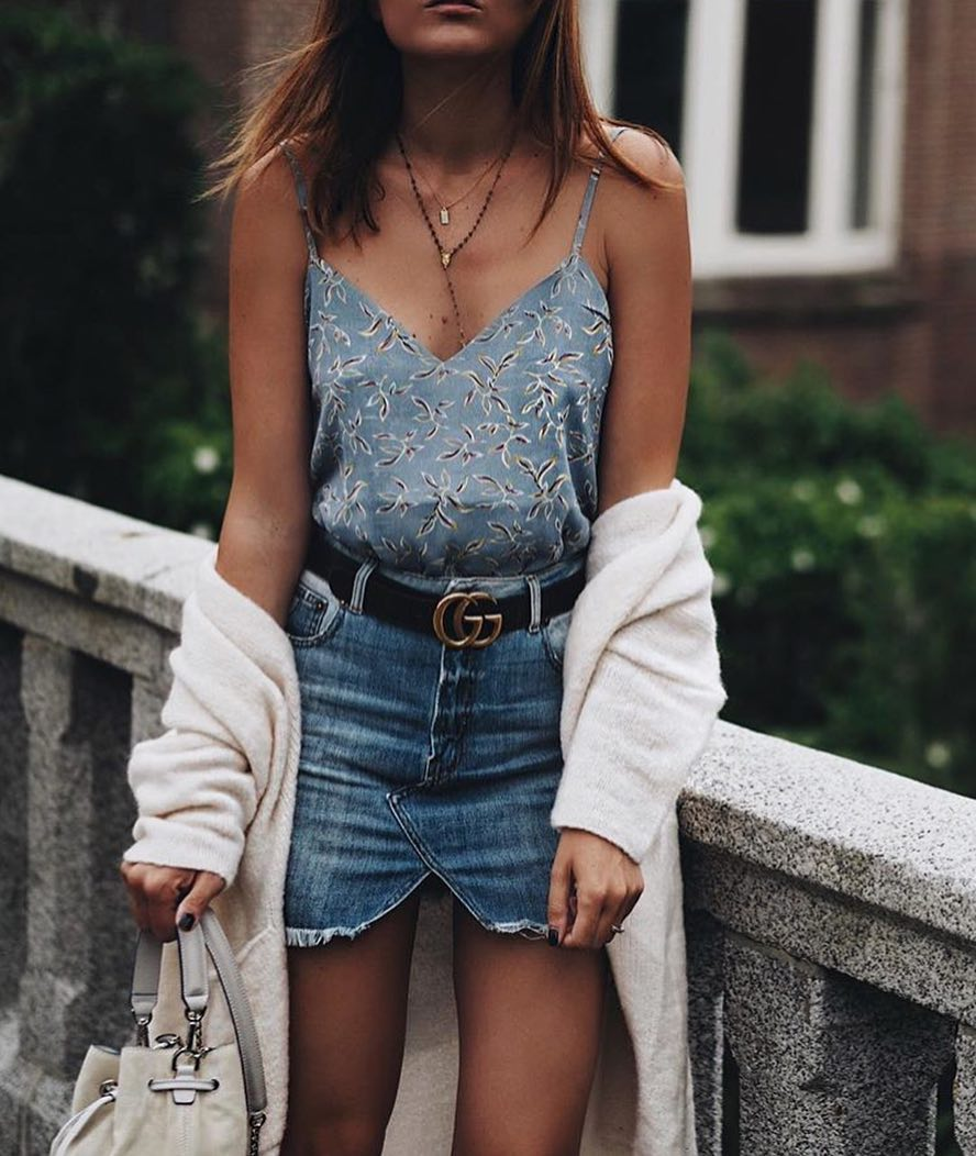 Simple Combo: White Cardigan, Floral Slip Top With Spaghetti Straps And Denim Mini Skirt 2020