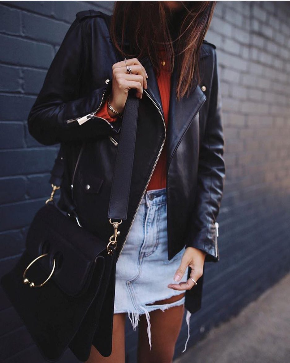 Spring Essentials: Black Leather Jacket, Orange Sweater And Blue Denim Skirt 2019