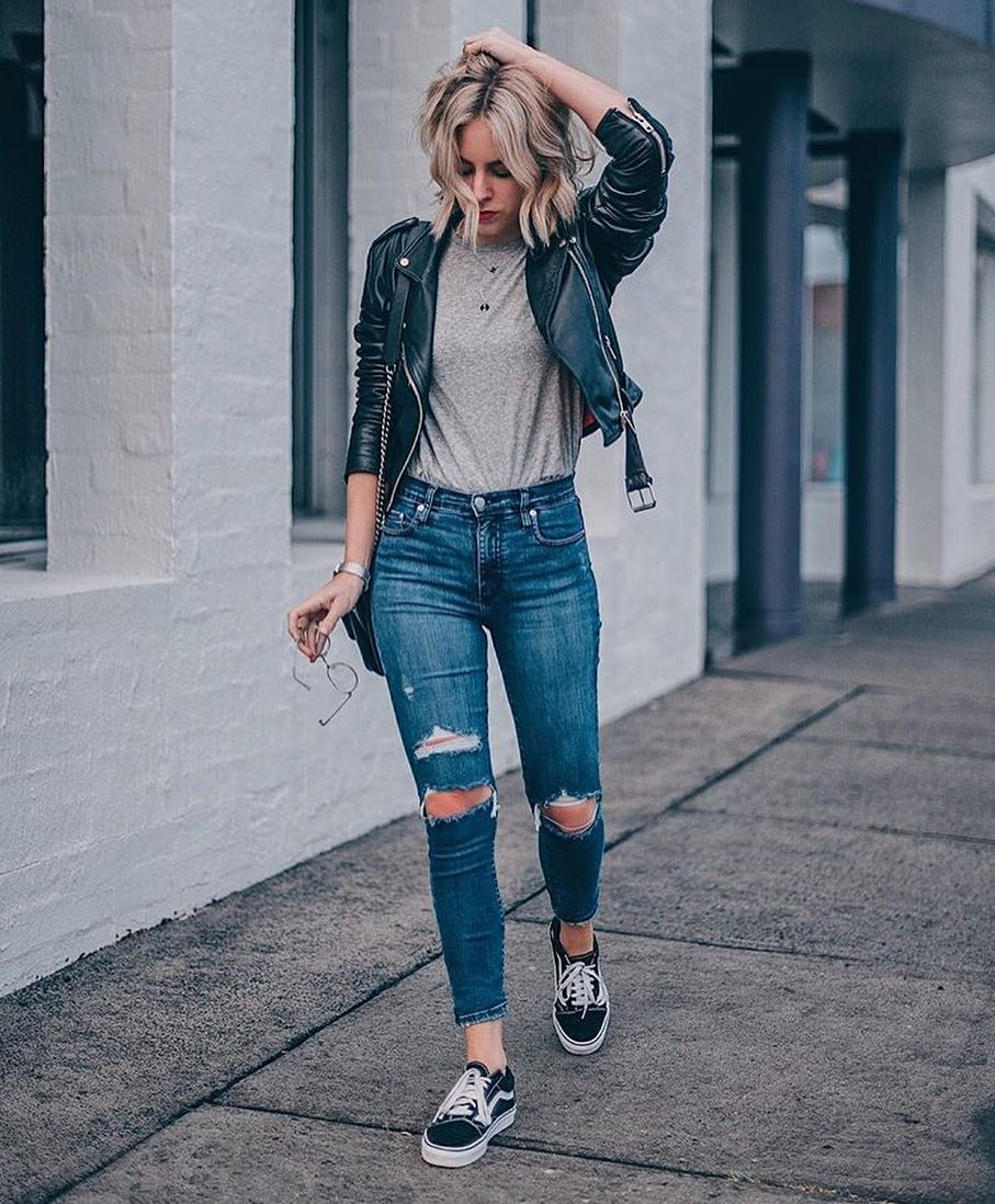 Keep It Cool And Urban: Trainers, Ripped Jeans, Tee And Black Leather Jacket 2020