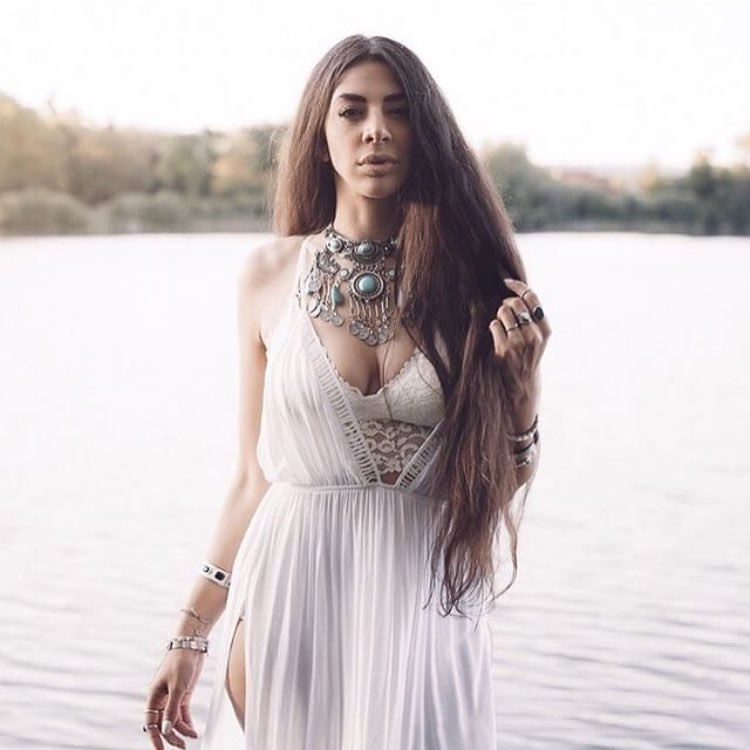 Bohemian Must Try: White Maxi Dress And Chunky Neckpiece 2021