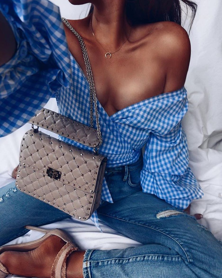 How To Style Gingham Print Off Shoulder Wrap Blouse With Skinny Jeans 2019