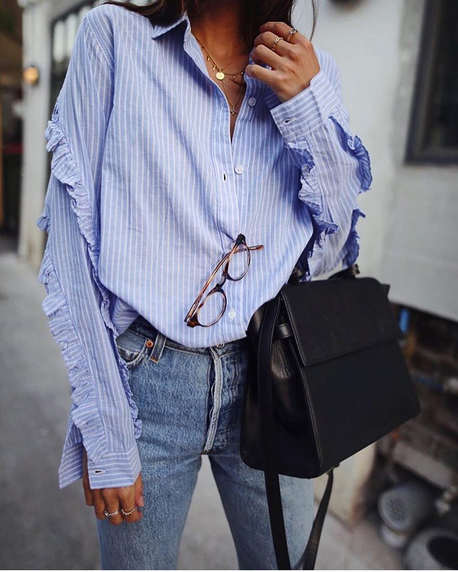 Best Street Style Combo: Oversized Striped Blue Shirt With Ruffles And Blue Jeans 2020