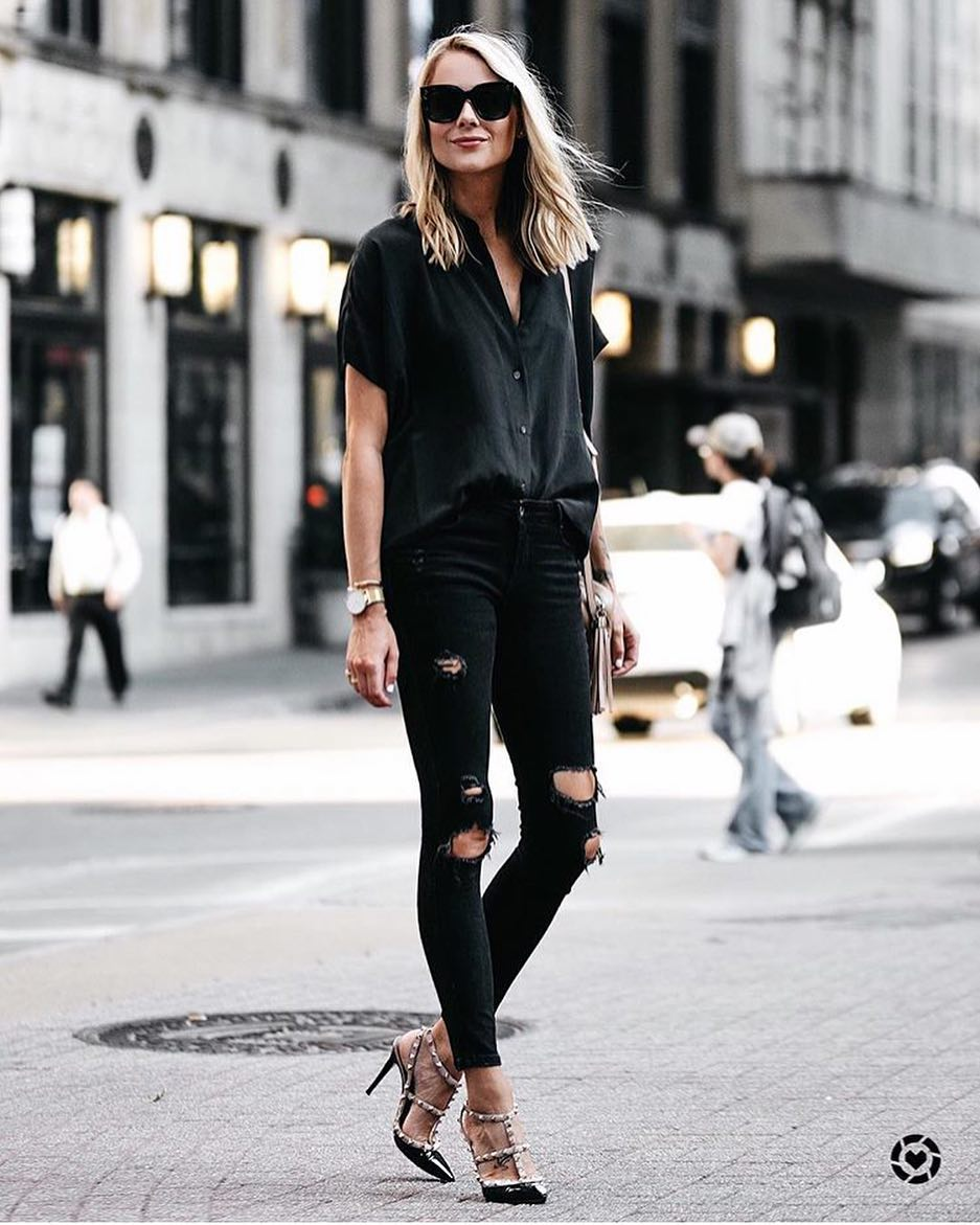 Studded Caged Heels With Black Ripped Jeans, Black Shirt And Tortoise Sunglasses 2020