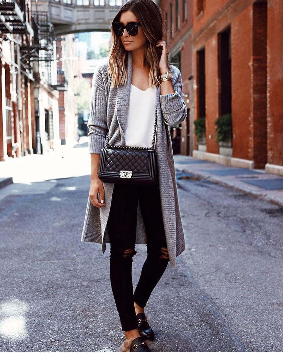 Spring Outfit: Grey Wool Cardigan With White Top, Ripped Black Jeans And Fur Mules 2021