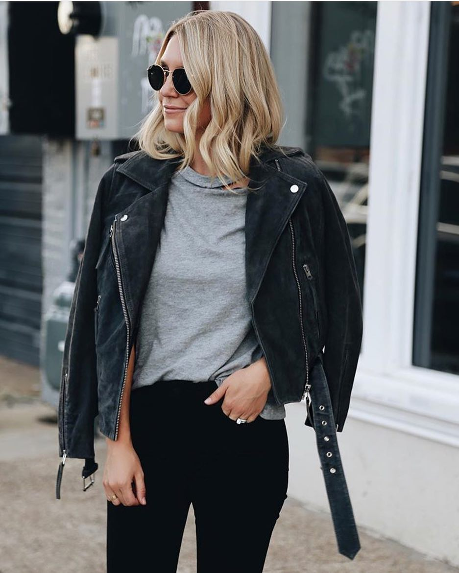 How To Wear Suede Biker Jacket With Grey Tee And Black Skinnies 2020