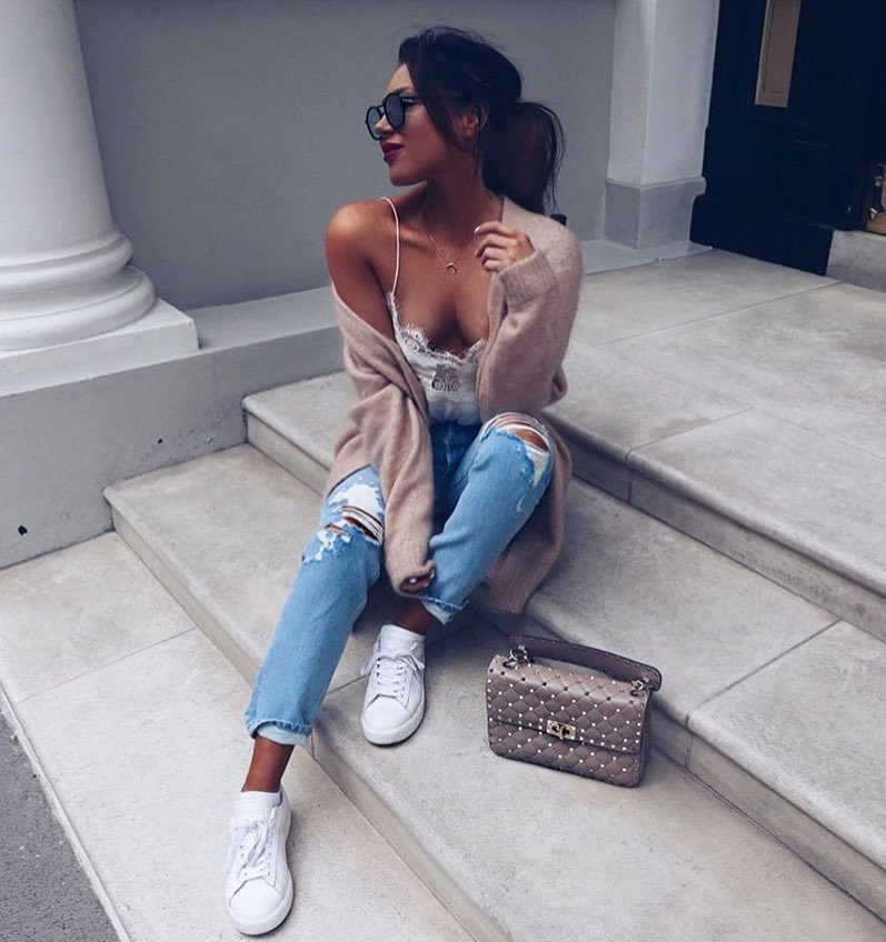 How To Style White Lace Slip Top With Wool Cardigan, Ripped Jeans And White Sneakers 2021