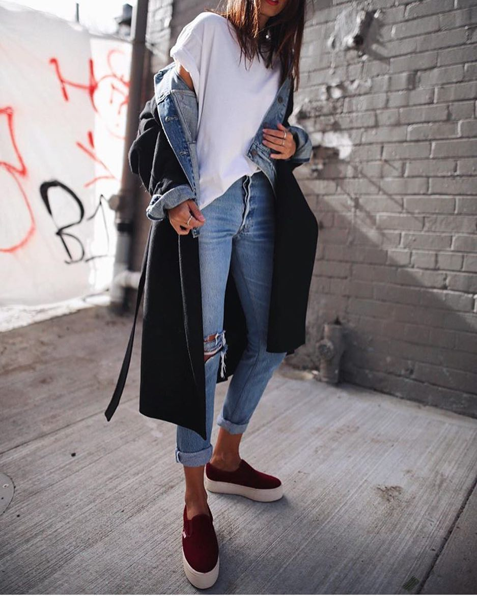Spring Layered Outfit: Black Trench Coat Over Denim Jacket 2019