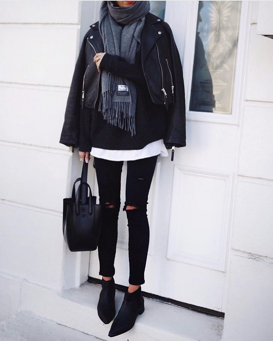 Monochrome Basics: Black Leather Jacket, Grey Scarf, Black Sweater, Ripped Skinnies And Ankle Boots 2020