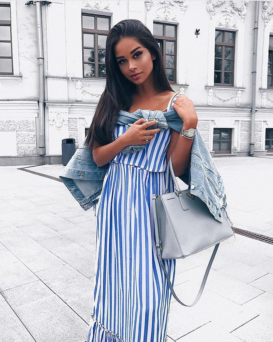 c5d3676d999 Summer Essentials  White-Blue Pinstripe Maxi Dress And Blue Denim Jacket  2019