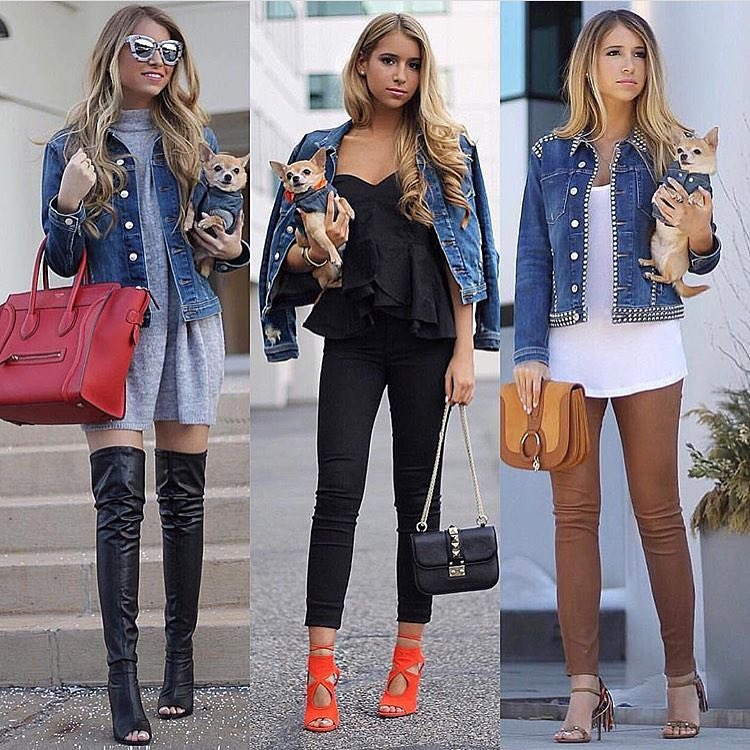 How To Wear Denim Jacket This Spring: With Peplum Top, OTK Boots And Leather Pants 2021