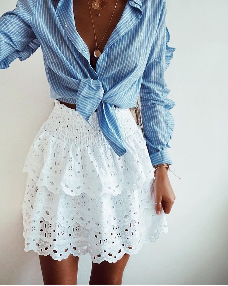 Summer Season Wear: Front Tied Pinstripe Shirt With Perforated Crochet White Layered Skirt 2020
