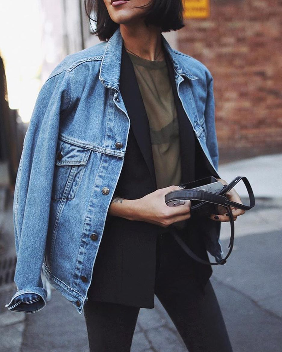 Perfect Layering: Denim Jacket Over Black Blazer 2021