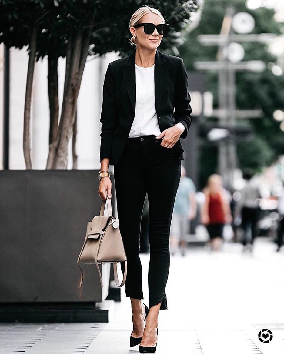 Monochrome Must Haves: Black Blazer, White Top, Black Skinnies And Black Pumps 2019