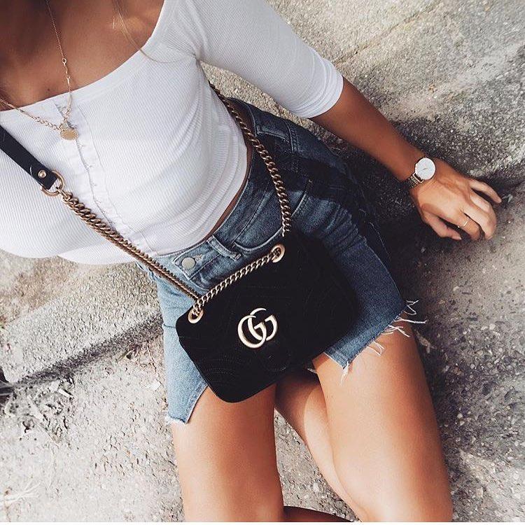Day Summer Essentials: White Off Shoulder Crop Top And Mini Denim Skirt 2020