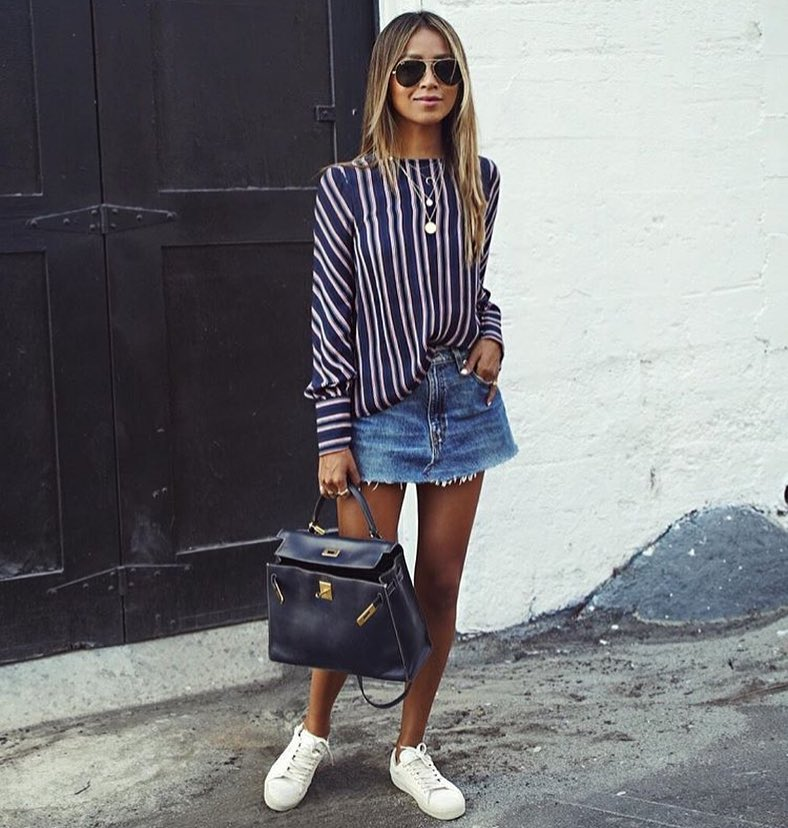 Spring City Essentials: Pinstripe Top, Denim Skirt And White Sneakers 2019
