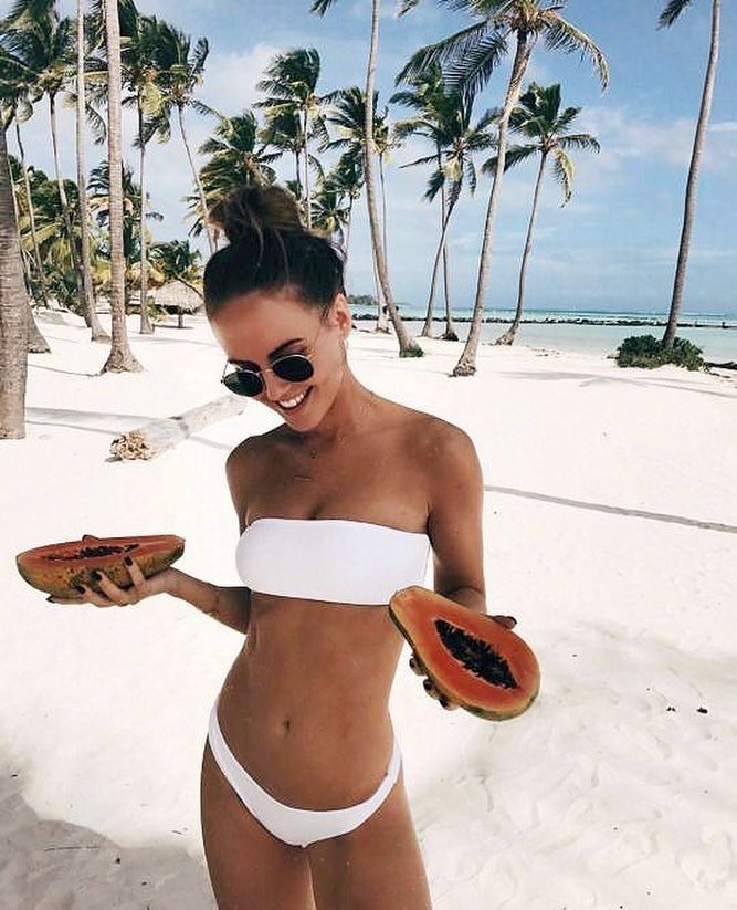 Island Vacation: White Two Piece Bikini And Rounded Sunglasses 2019