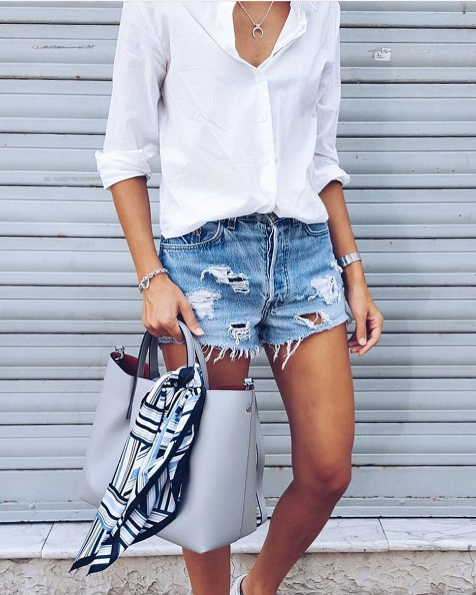 Summer Two Piece Look: Silk White Shirt And Ripped Denim Shorts 2021