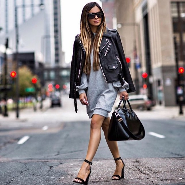 How To Wear A Black Leather Biker Jacket With A Grey Pullover Dress 2019