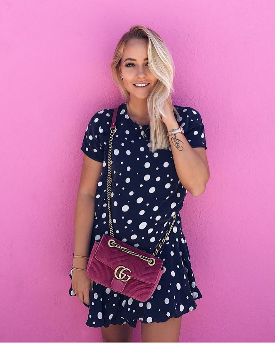 Summer Essentials: Navy Mini Dress In White Dots And Velour Clutch Bag 2021