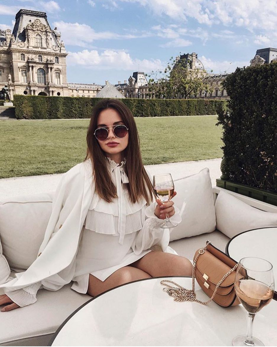 Garden Party White Skirtsuit And White Pussy Bow Blouse With Rounded Shades 2019