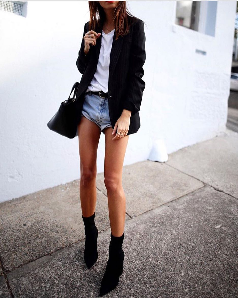 b81b56441281 How To Wear Black Sock Ankle Boots With Denim Shorts, White Top And  Pinstripe Blazer