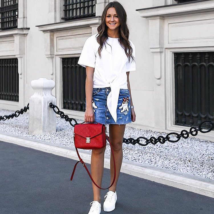 Summer Casual Street Look: Front-Tied White T-Shirt, Denim Mini Skirt And White Kicks 2021