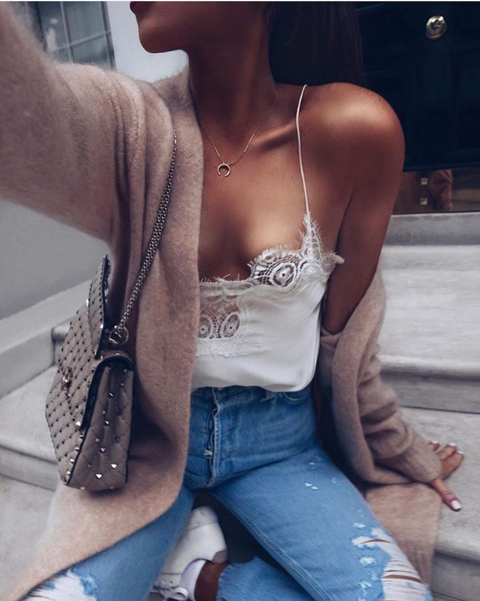 How To Style Wool Cardigan And White Lace Slip Top Tucked In Ripped Jeans 2020