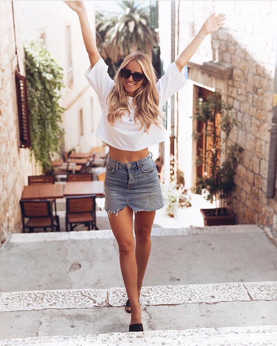 Vacay Is On: White T-Shirt And Short Denim Skirt 2019