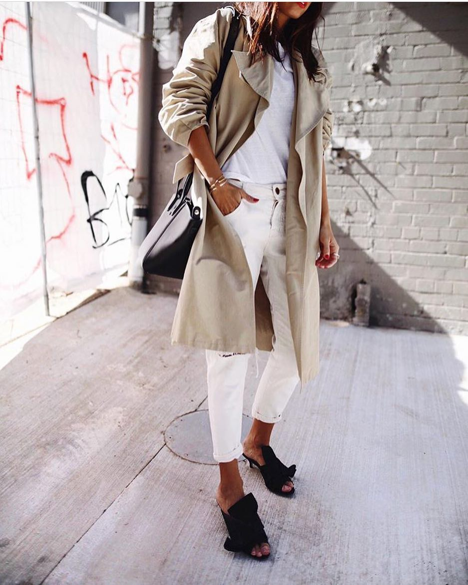 Beige Trench Coat Over White Tee Paired With White Jeans And Peep-Toe Mules 2019