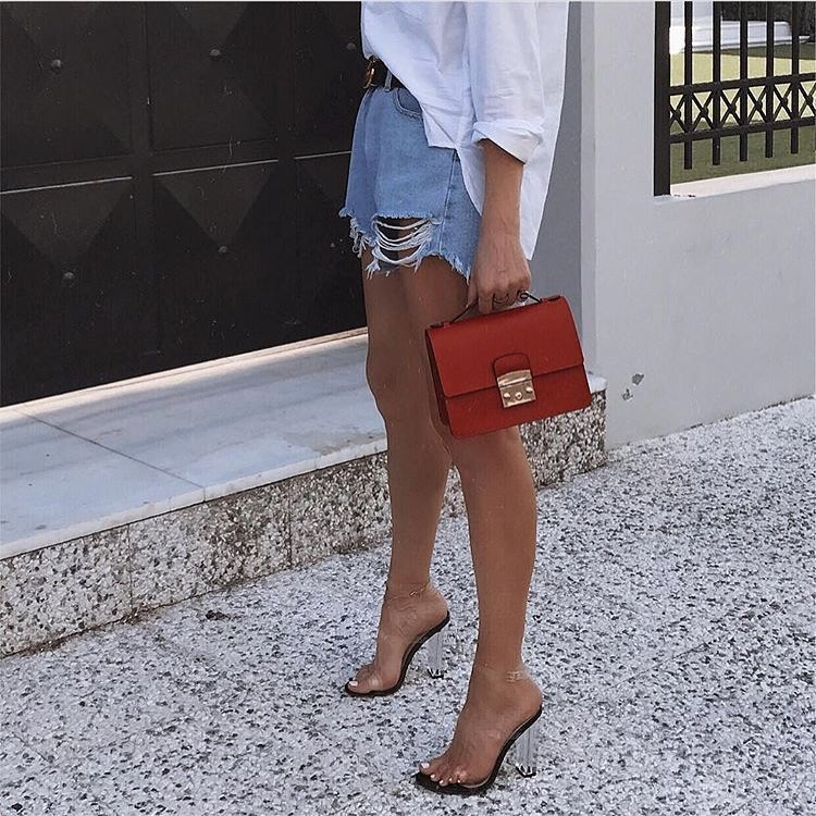 How To Wear Clear Heels With Denim Shorts And Oversized White Shirt 2019